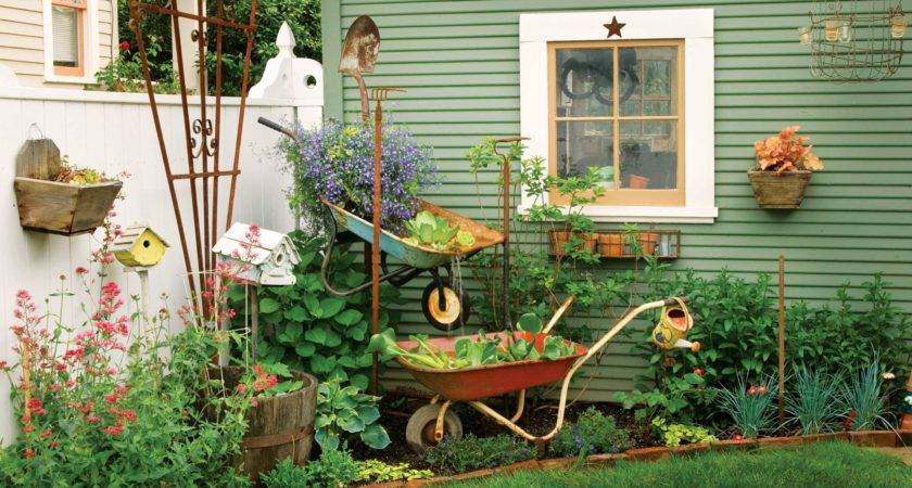 Wheelbarrow Garden Fountain Green Homes Natural Home