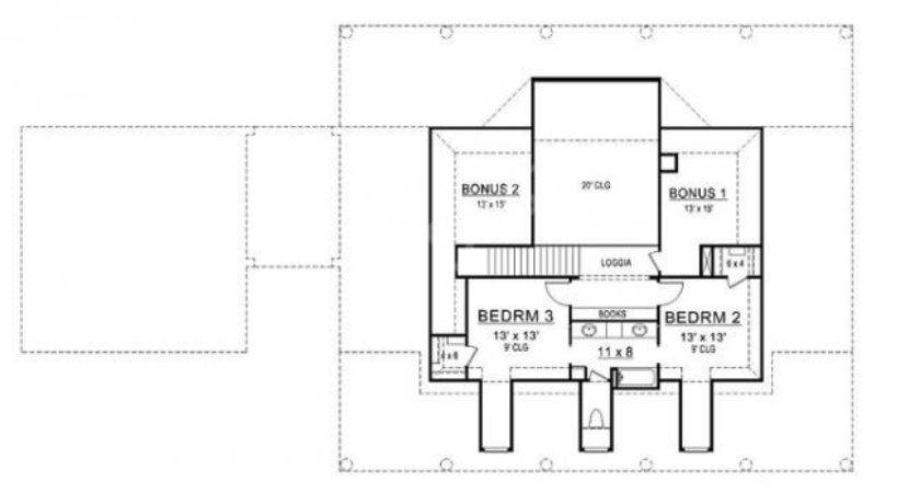 Williamsburg House Plan Colonial Second Floor