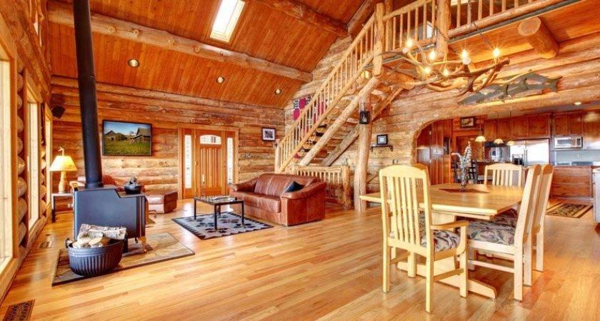 Wood Burning Fireplace Inside Log Home Voyageur Quest